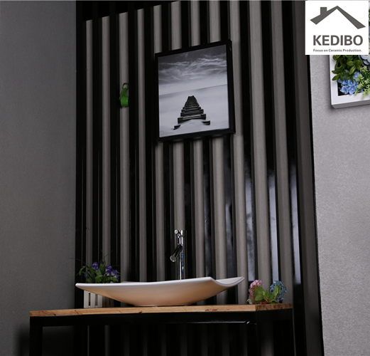 style, value and relief in one small space  -  wall mounted sink and vanity